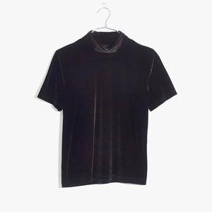 Madewell velvet mock neck short sleeve top
